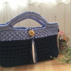 かぎ針編み/Tシャツヤーン/ズパゲッティ/ハンドメイド 色々悩みながらも、爽やかなバッグが完成♡