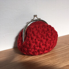 毛糸小物/がま口/リフ編み/編み物/かぎ針編み/ハンドメイド リフ編みのがま口♡