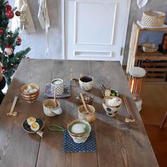 朝ごはん/うつわ/器のある暮らし/おうちごはん/100均/インテリア/... 青汁、納豆、味玉、浅漬など シンプルな朝…