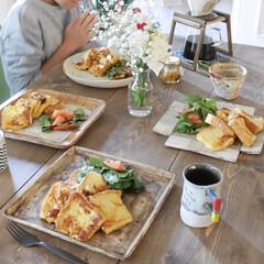 花のある暮らし/食卓/器が好き/フレンチトースト/グルメ/フード/... 休日の朝、小学生の息子が作って 盛り付け…