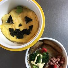 お弁当/秋/ハロウィン/フード お弁当作りしてると、 ハロウィン🎃だと気…
