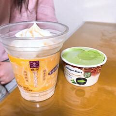 ミルクキャラメル/抹茶/アイス/風呂上がり/フード/スイーツ 風呂上がりのアイスです 娘と2人。