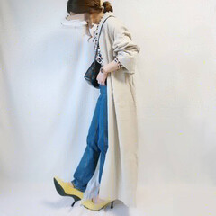 低身長コーデ/ママファッション/ママコーデ/春コーデ/春ファッション/イエロー/... 差し色にぴったりなイエローパンプス😍♥️…