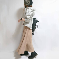 ベレー帽/ニットスカート/カジュアルコーデ/しまむらパトロール/しまむら スウェット×ニットスカートのカジュアルコ…