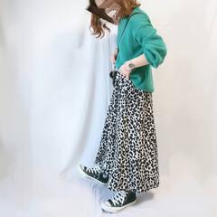 春ファッション/ママコーデ/低身長コーデ/コンバース/ロングスカート/レオパードアイテム/... GU×しまむらのプチプラコーデ☺️  し…