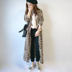 秋ファッション/着回しコーデ/ベレー帽/シャツワンピ/レオパード柄/ファッション レオパード柄シャツワンピ⭐  インパクト…(1枚目)