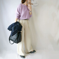 デニムジャケット/低身長コーデ/ママコーデ/春ファッション/プチプラファッション/GU/... GUのリネンブレンドワイドパンツ☺️  …