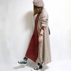 冬ファッション/ママコーデ/コンバース/プチプラコーデ/しまむらコーデ/しまむらパトロール/... ニットワンピ×ロングシャツワンピのゆるコ…