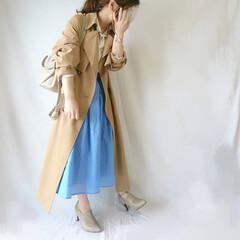 着回しコーデ/低身長コーデ/おちびコーデ/ママコーデ/フレアスカート/カラースカート/... 春ファッション☺️  しまむらのトレンチ…