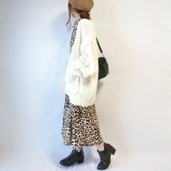 ファッション/おちびコーデ/ベレー帽/秋ファッション/シャツワンピ/レオパード柄/... レオパード×ニットカーディガンの秋コーデ…