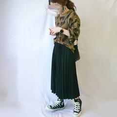 GU/プリーツスカート/レオパード柄/プチプラコーデ/しまむら/しまパト/... レオパード柄ニット×プリーツスカートのカ…