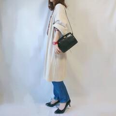 低身長コーデ/ストレートデニム/GU/ママコーデ/春ファッション/ファッション ニットカーディガン×ストレートデニム☺️…