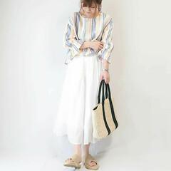 ユニクロコーデ/UNIQLO/ママファッション/春夏コーデ/おちびコーデ/ロングスカート/... ホワイトスカートコーデ(* 'ᵕ' ) …