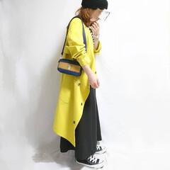 ママコーデ/おちびコーデ/カジュアルコーデ/オーバーサイズ/春コーデ/ファッション 派手色アウターの春コーデ☺️🌸  アウタ…