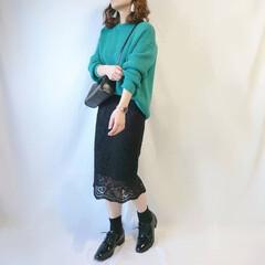 低身長コーデ/ママコーデ/春ニット/レーススカート/プチプラファッション/プチプラ/... 上下GUコーデ☺️  ニットはキレイなグ…