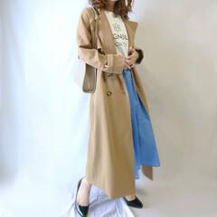 フレアスカート/トレンチコート/しまむら/おちびコーデ/ママコーデ/春ファッション/... トレンチコート×カラースカートの春コーデ…