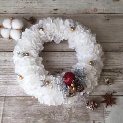 ハンドメイド雑貨/インテリア/インテリア雑貨/クリスマスギフト/ホワイトクリスマス/ペパナプリース/... ホワイトのペパナプフラワーで作った大きめ…
