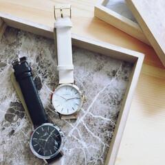 腕時計収納/腕時計/ダイソー/ワンコイン/100均 ダイソーお気に入りの時計がコチラ。 大理…(1枚目)
