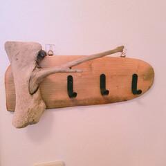流木 流木で、キーフックを作ってみました… 枝…
