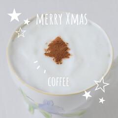 クリスマス/Xmas/クリスマスツリー/レシピ/コーヒー/Coffee/... Xmas カプチーノつくりました^ ^ …