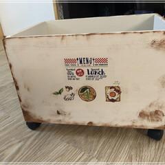 キャスター付きボックス/インテリア/DIY/100均/住まい/収納 ニアさんの真似をしてウッドボックスを作り…