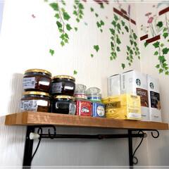 廃材/DIY/100均/セリア/ダイソー/キッチン/... キッチンに収納が欲しく、旦那さんの廃材を…