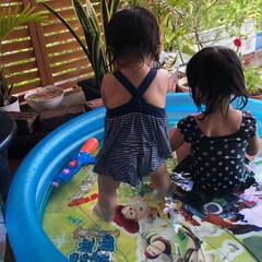 水遊び/お盆/プール/夏/玄関 今日は、息子夫婦仕事の為、孫ちゃんの預か…