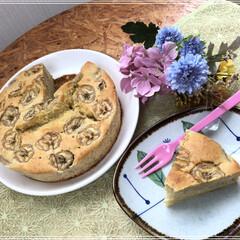 バナナケーキ/スイーツ バナナケーキ作りました🍌🍌 味は…しっと…