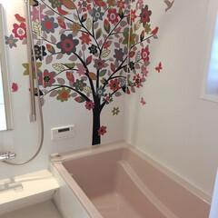 バスルーム/住まい バスルームの壁はNORITZのアートウォ…