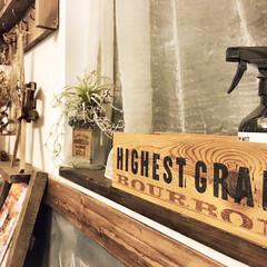 木箱リメイク/LIMIAインテリア部/収納/雑貨/DIY/暮らし/... バーボンの木箱をスプレー収納に。 もとも…