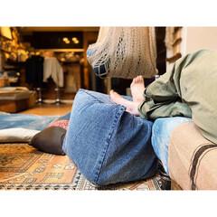 ニトリ秋冬コーディネート/デニム雑貨/リラックスタイム/リラックス/お値段以上ニトリ/オットマン/... ニトリのプーフは、 カバー取り外しで洗え…