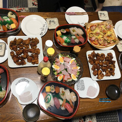 唐揚げ/手作りピザ/お誕生日パーティー/おうちごはん 3月30日で86歳になった母親のお誕生日…