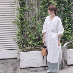 ママコーデ/シャツコーデ/大人カジュアル/カジュアル/ファッション シャツコーデ。  ロングシャツにデニムを…