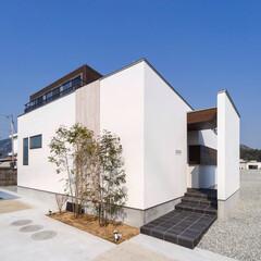 建築家と建てる家/建築家/建築/玄関/外観デザイン/外観/... ■haus-sato■ 玄関側は白壁の、…