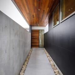 中庭/平屋/新築一戸建て/新築/マイホーム計画/マイホーム記録/... 長いアプローチの先に玄関があり、玄関ドア…