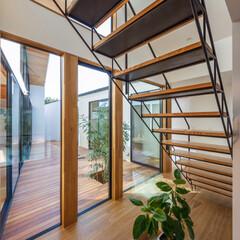 設計事務所/設計/住宅/インテリア/吹抜け/スケルトン階段/... 階段まわりをぐるっと一周♪ 玄関からもオ…