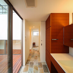 washroom/courtyard/entrance/interior/ウッドデッキ/中庭/... 玄関まで続く天然石の床♪  ■haus-…