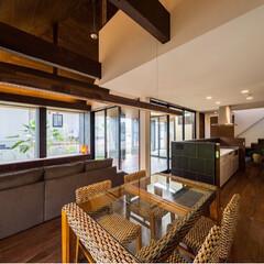 アジアン/バリ/インテリア/マイホーム/一戸建て/新築一戸建て/... キッチンは腰高の引き戸で仕切れるようにな…