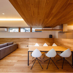 ダイニング/リビング/インテリア/設計事務所/平屋/設計/... キッチン腰壁、ダイニングのキャビネット、…