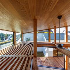 ウッドデッキ/中庭/ルーバー/吹抜け/リビング/ダイニング/... 構造体の一部として、高い窓の日除けとして…