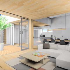 設計事務所/平屋/中庭/ウッドデッキ/設計/インテリア/... 姫路市の新築戸建て住宅『haus-sli…