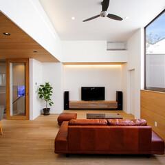 住宅デザイン/注文住宅/家/家づくり/家具/ソファ/... 北側ライトコートバルコニーのあるリビ…