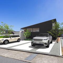 パース/外観/外観デザイン/設計/中庭/平屋/... 姫路市の新築戸建て住宅『haus-sli…