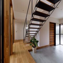 スケルトン階段/階段/玄関/玄関ドア/リビング/中庭/... 玄関からもオブジェの様なスケルトン階段越…(3枚目)