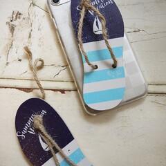 ダイソー/ビーチサンダル/携帯カバー/海/iPhoneケース ダイソーのビーチサンダルのオーナメントを…
