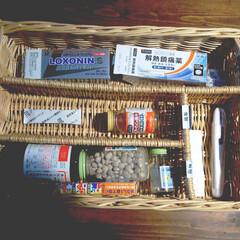 おうちの美化委員/薬の収納/薬箱/お薬収納/薬/収納/... お薬収納💊 薬はかごに入れています。 ク…
