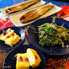 家庭料理/晩御飯/料理/おうちごはん/暮らし/節約 晩御飯! 焼きホッケ 大葉の天ぷら たま…