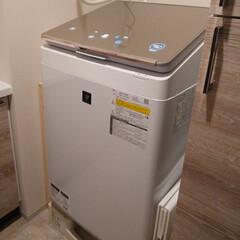 シャープ タテ型洗濯乾燥機 ゴールド ES-PW8D | シャープ(洗濯機)を使ったクチコミ「洗濯乾燥機を買いました。 仕事に行く前に…」