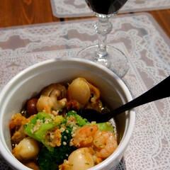 料理/ワイン/アヒージョ/おつまみ/暮らし 昨夜のワインのお供。 『アヒージョの素』…