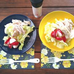 サラダ/朝食/ペーパーナプキン/セリア/サラダチキン/朝ごはん 朝ごはん🍴💓 野菜とチキンに お塩とオリ…